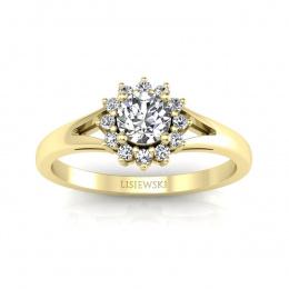 Pierścionek zaręczynowy z brylantami żółte złoto - 20052z