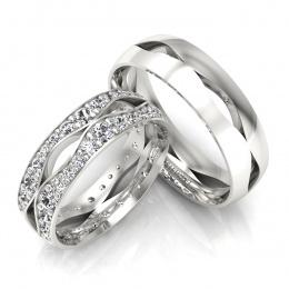 Obrączki ślubne z brylantami białe złoto - S60170T53B