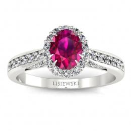 Pierścionek zaręczynowy z rubinem i brylantami - p16022br