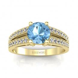 Pierścionek zaręczynowy z topazem i brylantami - p16027za