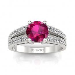 Pierścionek  z rubinem i diamentami białe złoto - p16027br