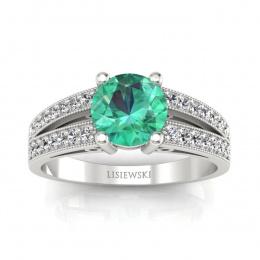 Złoty pierścionek ze szmaragdem i brylantami  - p16027bsm