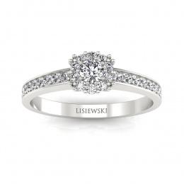 Pierścionek zaręczynowy z brylantami białe złoto - p16028b