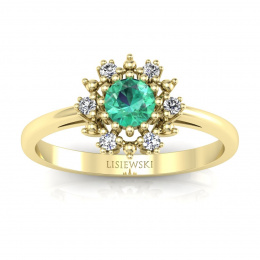 Złoty pierścionek zaręczynowy ze szmaragdem - p15077zsm