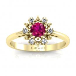 Złoty pierścionek z rubinem i brylantami - p15077zr