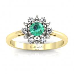 Złoty pierścionek ze szmaragdem i brylantami - p15077zbsm