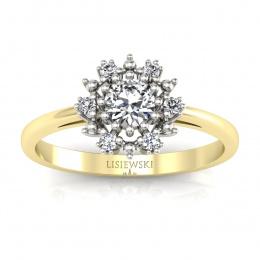 Złoty pierścionek z brylantami - p15077zb