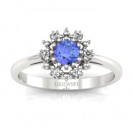 Złoty pierścionek zaręczynowy z tanzanitem i brylantami - p15077bt