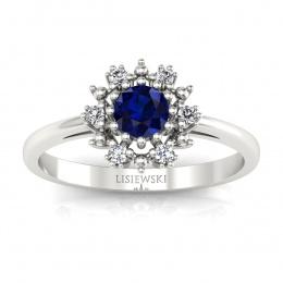 Złoty pierścionek zaręczynowy z szafirem i brylantami - p15077bsz