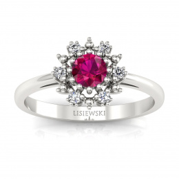 Złoty pierścionek z rubinem i brylantami - p15077br
