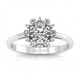 Złoty pierścionek zaręczynowy z diamentami - p15077b