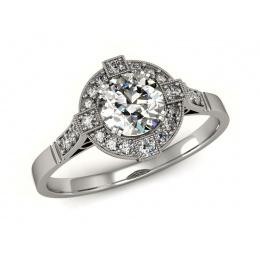 Pierścionek zaręczynowy, platyna, brylanty - 15098pt