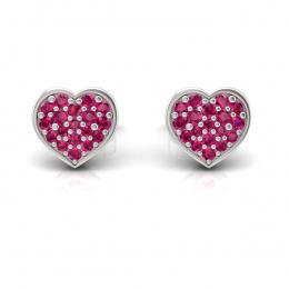 Złote kolczyki serca z rubinami - k16018br