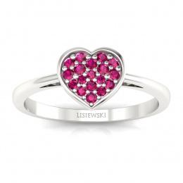 Złoty pierścionek z rubinami  - p16018br