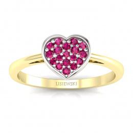Złoty pierścionek serce z rubinami - p16018zbr