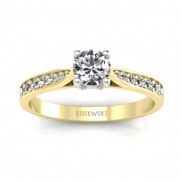 Złoty pierścionek z brylantami - p16013zb