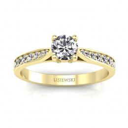 Pierścionek z żółtego złota z diamentami - p16013z