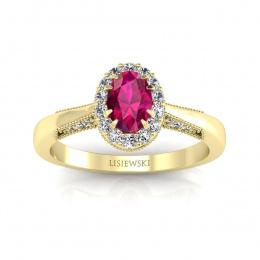Pierścionek zaręczynowy z żółtego złota z rubinem i brylantami - p16020zr