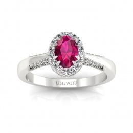 Złoty pierścionek z rubinem i brylantami - p16020br