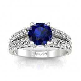 Pierścionek zaręczynowy z szafirem i brylantami - p16027bsz