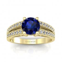 Złoty pierścionek z szafirem i brylantami - p16027zsz