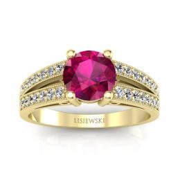 Pierścionek zaręczynowy z rubinem i brylantami - P16027zr