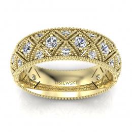 Złota obrączka ślubna z brylantami - p16064z