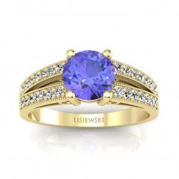 Złoty pierścionek zaręczynowy z tanzanitem i brylantami - p16027zt