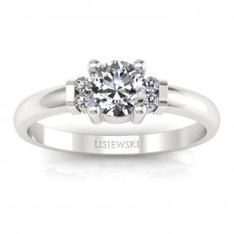 Pierścionek zaręczynowy białe złoto brylanty - P15213b