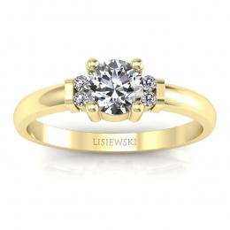 Pierścionek zaręczynowy żółte złoto brylanty - P15213z