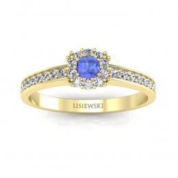 Złoty pierścionek z tanzanitem i brylantami- p16028zt