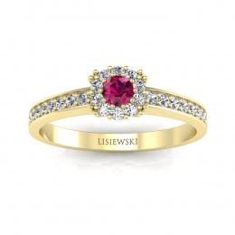 Pierścionek zaręczynowy z rubinem i brylantami - p16028zr