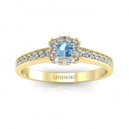 Złoty pierścionek  z topazem i brylantami - p16028za