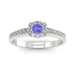 Złoty pierścionek z tanzanitem i brylantami - p16028bt
