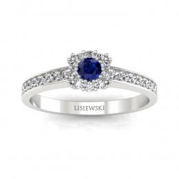 Pierścionek zaręczynowy z szafirem i brylantami - p16028bsz