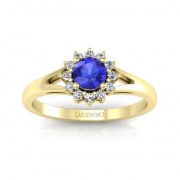 Złoty pierścionek z szafirem cejlońskim i brylantami- 20052zszc