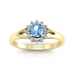 Złoty pierścionek z topazem i brylantami - 20052zba