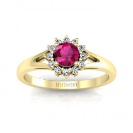 Złoty pierścionek zaręczynowy z rubinem i brylantami - 20052zr