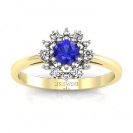 Złoty pierścionek z szafirem cejlońskim i brylantami - p15077zbszc