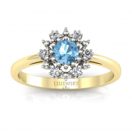 Złoty pierścionek z topazem i brylantami - p15077zba