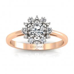 Złoty pierścionek zaręczynowy z brylantami - p15077cb