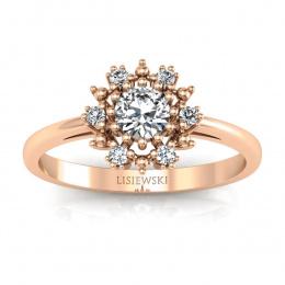 Złoty pierścionek z brylantami - p15077c