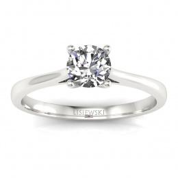 Złoty pierścionek zaręczynowy z brylantem i rubinem - p16205br