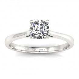 Złoty pierścionek zaręczynowy z brylantem i szafirem - p16205bsz