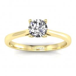 Pierścionek z brylantem i rubinem żółte złoto - p16205zr