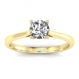 Złoty pierścionek zaręczynowy z brylantem i tanzanitem - p16205zt