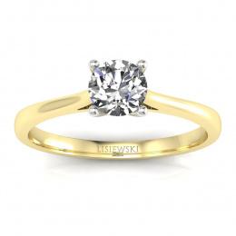 Pierścionek zaręczynowy z brylantem i szmaragdem - p16205zbsm