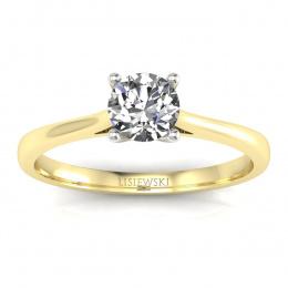 Złoty pierścionek z brylantem i szafirem cejlońskim  - p16205zbszc