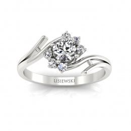 Prześliczny pierścionek zaręczynowy z brylantami - P15244b