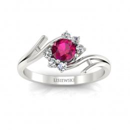 Złoty pierścionek z rubinem i brylantami - P15244br